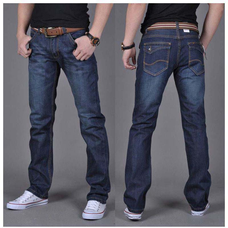 Free shipping Autumn and winter men's denim jeans  straight pants jeans men in dark blue high quality #6699