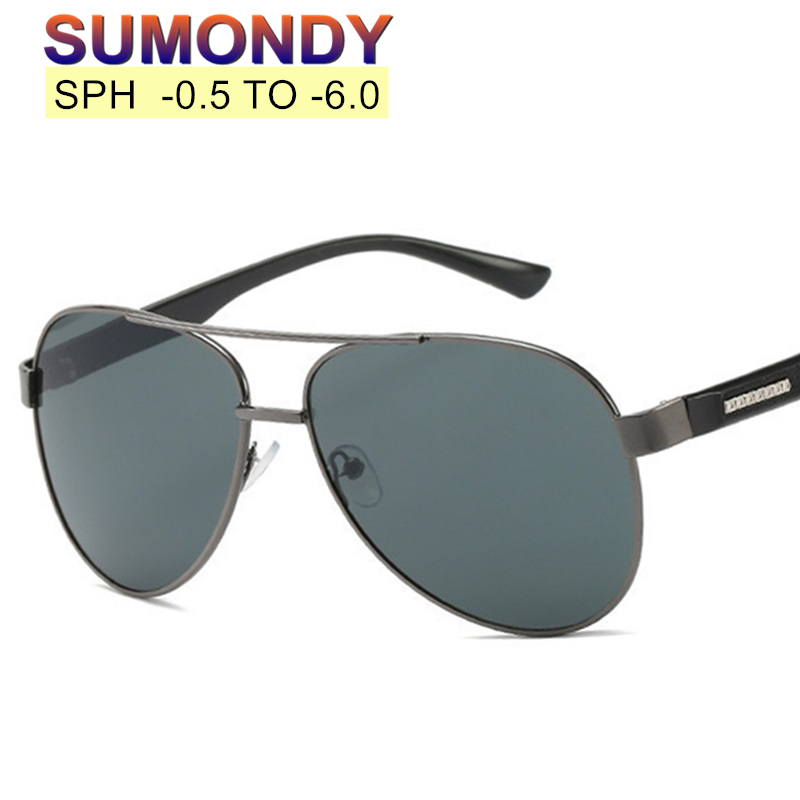 SUMONDY Filling Prescription -0.5 to -6.0 Myopia Sunglasses Men Women Gray Lenses Spectacles For Nearsighted With Dioptre UP023