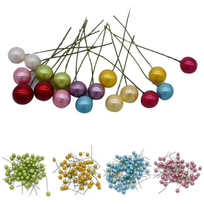 1 см 50 шт. мини жемчужные тычинки искусственный цветок маленький Пластик ягоды вишни Фрукты Свадебные украшения Рождественский подарок коробка венки