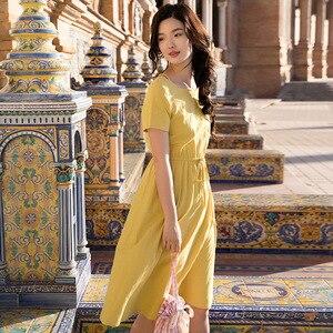 Image 2 - INMAN Summer Wear New Round Neckline High Waist Belt Show Thin Short sleeved Dress Medium Length Dress