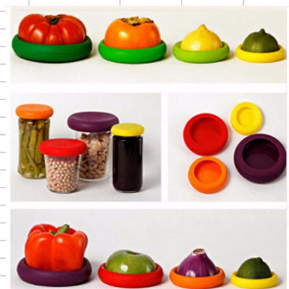Hugger PREUP 4 Unids/set Assorted Food Cubierta de Silicona Tapa Tapa Reutilizab