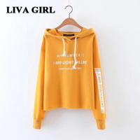 Liva Gir Autumn Winter Women Short Sweatshirt Jumper Women S Hoodie Long Sleeve Sweatshirts Cotton Letter