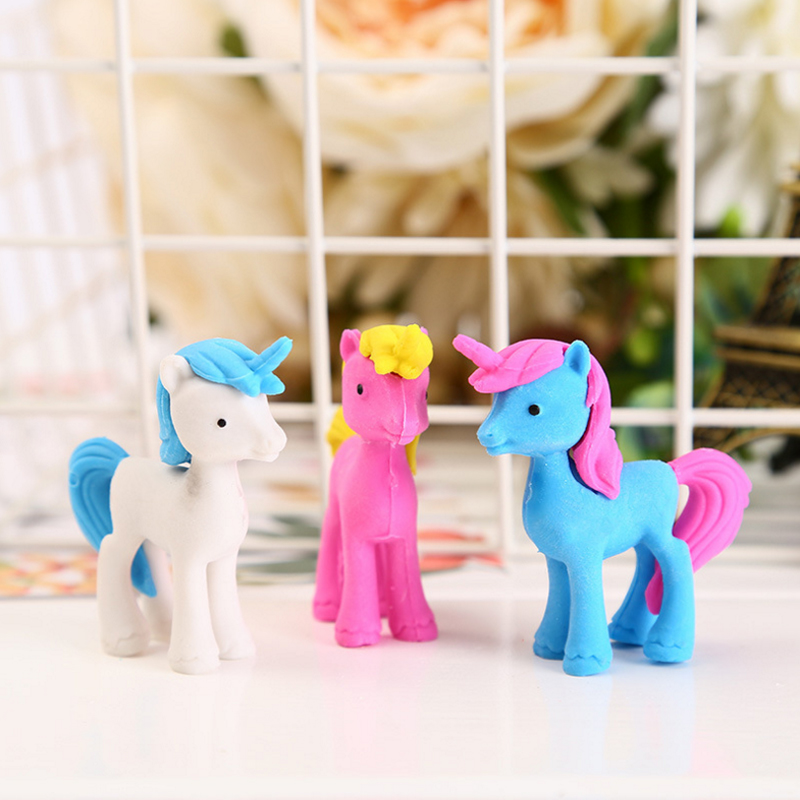 1pc/lot Kawaii Stationery Mini Animal Unicorn Horse Shapes Rubber Pencil Cute Eraser Drawing For Correction Kids Learning Tools