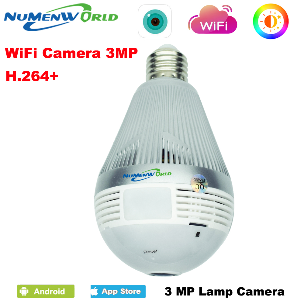 3.0 Megapixels CCTV IP cam SD 360 Panoramin Smart Home Safty Wifi VR Camera LED Bulb Security Camcorder Support PC Tablet Phone