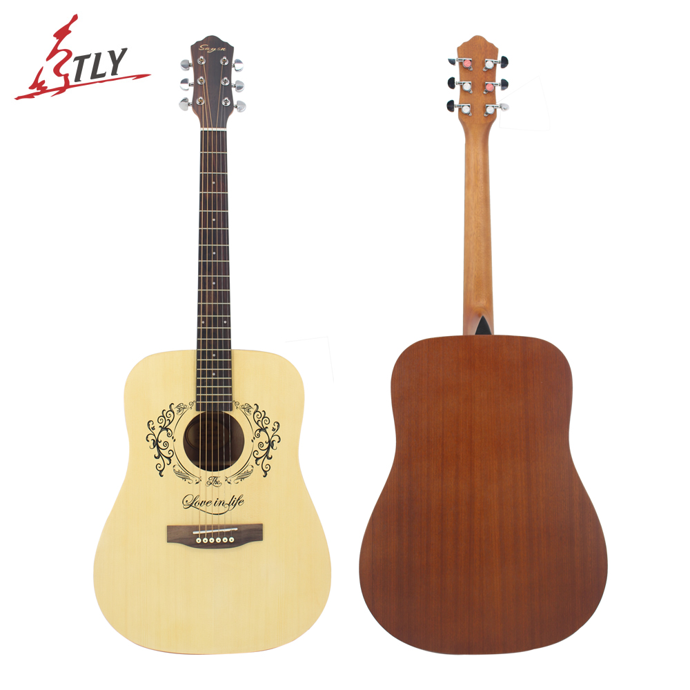 SAYSN 41 High Quality Spruce Panel Acoustic Guitar Rosewood Fingerboard Beginner Guitar with Backpack Capo Picks Extra Strings hot 8x meideal capo10 acoustic electric guitar quick change trigger capo clamp black