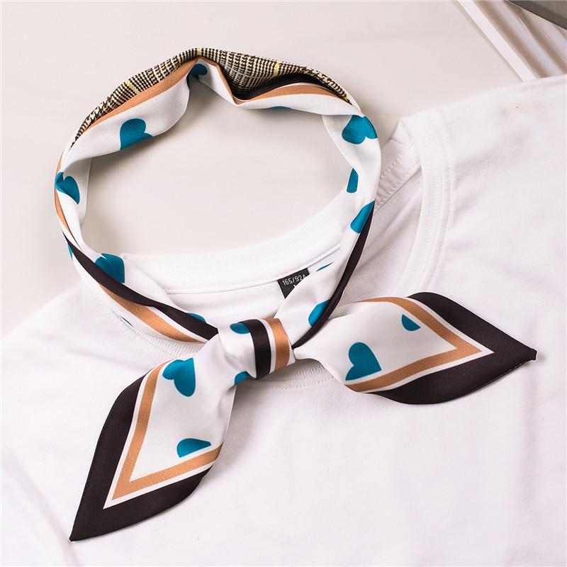 Women Long Skinny Scarf Female Silk Hair Neck Scarves Heart Love Print Elegant Lady Head Band Scarfs Bag Ribbons Tie Sharp