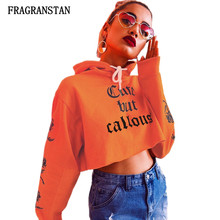 Female Spring Summer Hooded Orange Sweatshirts Women Fashoin Letter Flowers Printed Pullovers Lady Harajuku Sexy Crop Top JQ636(China)