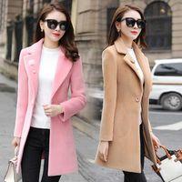 QMGOOD Winter New Fashion Blends Women's Wool Coat Elegant Pink Wool Long Coat Tops Female Overcoat Womens Winter Coats Khaki