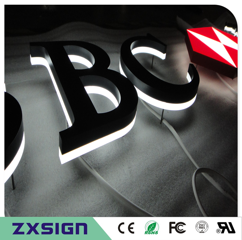 Factory Outlet metal backlit led letters, outdoor stainless steel back lighted letterings, internally illuminated signs