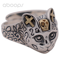 Adjustable Vintage Two Tone 925 Sterling Silver Cat Head Ring Biker Jewelry for Men Women Free Shipping