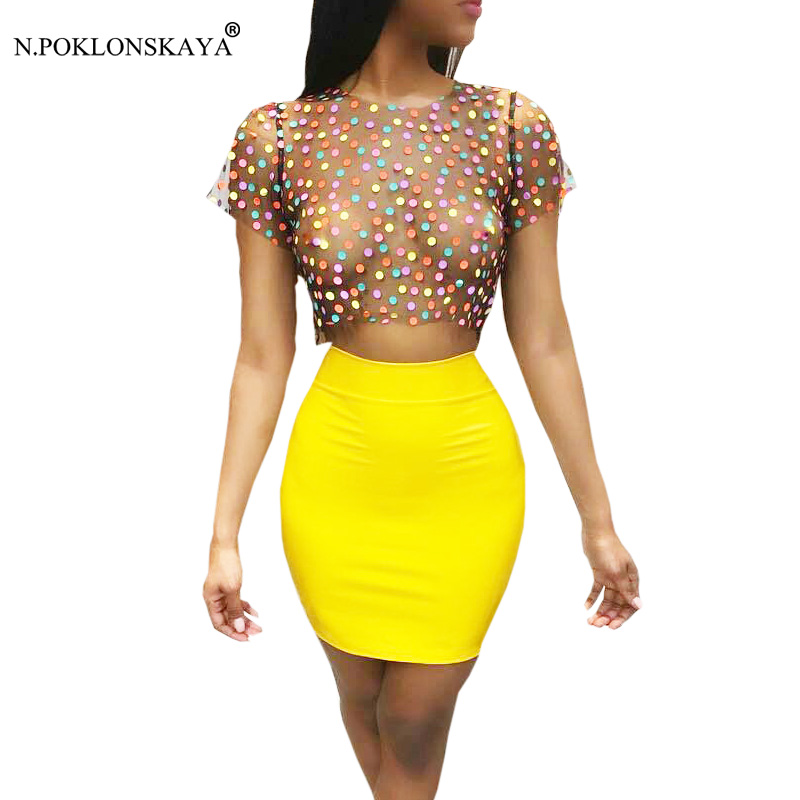 Fashion Women Sexy Summer Dress Mesh Crop Top Bandage Dress Polka Dots Tops Party Dresses Bodycon Female two piece set Clothing