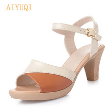 AIYUQI Sandal shoes lady new 2019 women summer mixed colors high heel fashion fish mouth roman style  womens dress sandal