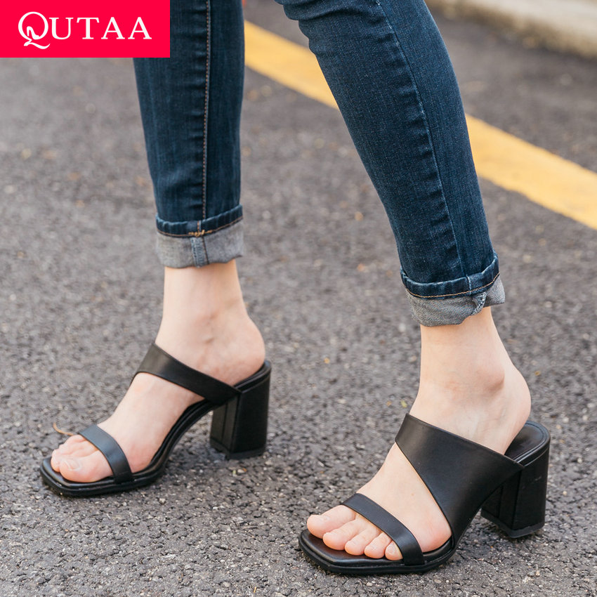 QUTAA 2019 Women Sandal Square High Heel Square open-toed Cow Leather Hollow Fashion Slingback Ladies Pumps Concise Size 34-39QUTAA 2019 Women Sandal Square High Heel Square open-toed Cow Leather Hollow Fashion Slingback Ladies Pumps Concise Size 34-39