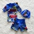Muchachos del verano traje de Baño Niños Coche de la Historieta Azul 2 Unidades de Baño Trajes de Baño Con Casquillo Infantil Del Niño Del Traje de Baño de la Playa Traje de Pantalones Cortos de Tronco
