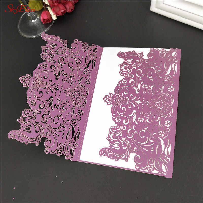 5pcs Name Card Wedding Laser Cut Wedding Invitations Card Decorations Birthday And Graduation Party Invitations 7zsh073