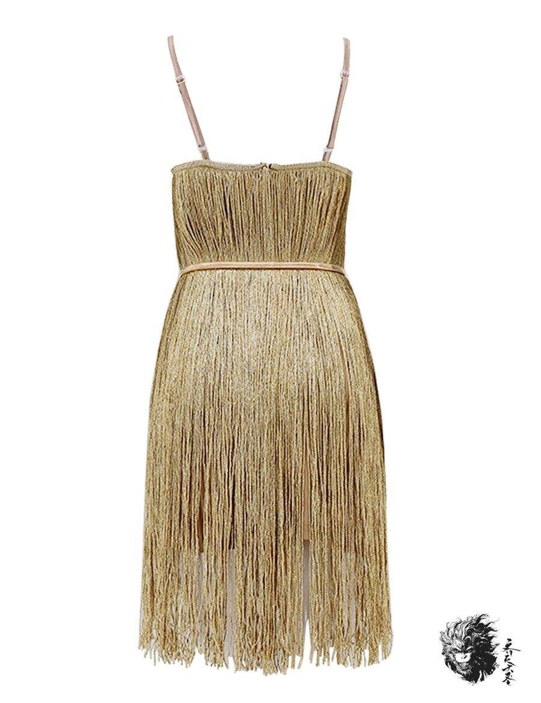 Or Courroie Fringe Gland Spaghetti Moulante De Sexy Argent Des Clubwear Or Classique argent Soirée Femmes Vetido Robe Mini a188dwq