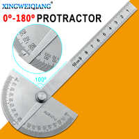 0-180Degrees 10cm Angle Ruler Goniometer Stainless Steel Protractor Round Head Ruler Woodworking Angle Square Corner Test
