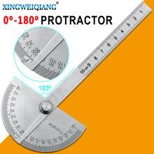 Goniomètre à tête ronde en acier inoxydable, 0 180 degrés, règle dangle de 10cm, rapporteur en acier inoxydable, Test dangle carré du bois