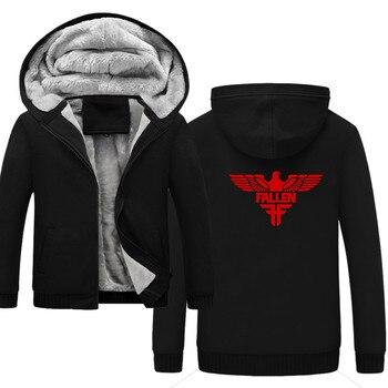 FALLEN Men's Thicken windbreaker Jackets Fleece Sportswear 4XL 5XL  Wool Liner Hoody Warm Hoodies  Coats Sweatshirts For Men