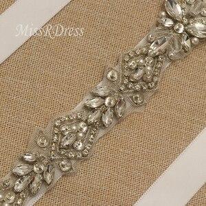 Image 4 - MissRDress Silver Diamond Wedding Belt Handmade Rhinestones Bridal Sash Crystal Pearls Bridal Belt For Wedding Gown JK935