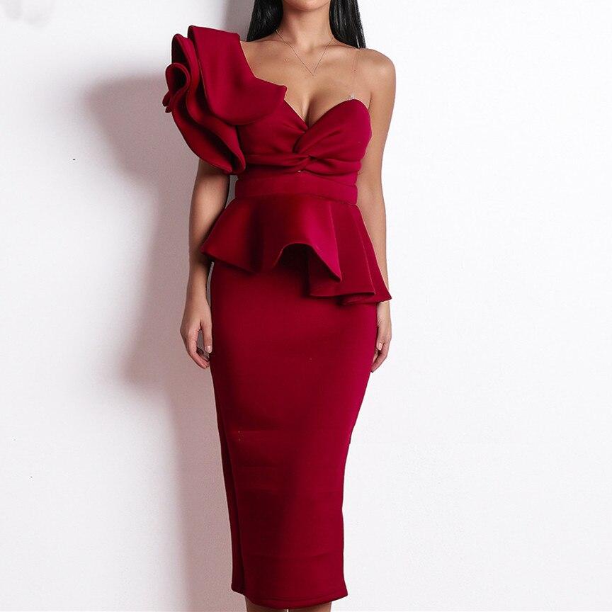 Mode 2019 robe de soirée femmes Sexy moulante robe une épaule volants à manches courtes bretelles Club robe Vestidos