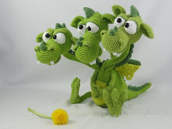 Amigurumi Crochet  Three Headed Dragon toy doll three 100ml