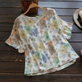 sweet floral print hole loose o-neck top Butterfly short sleeve  T-Shirt  mori girl 2016 summer