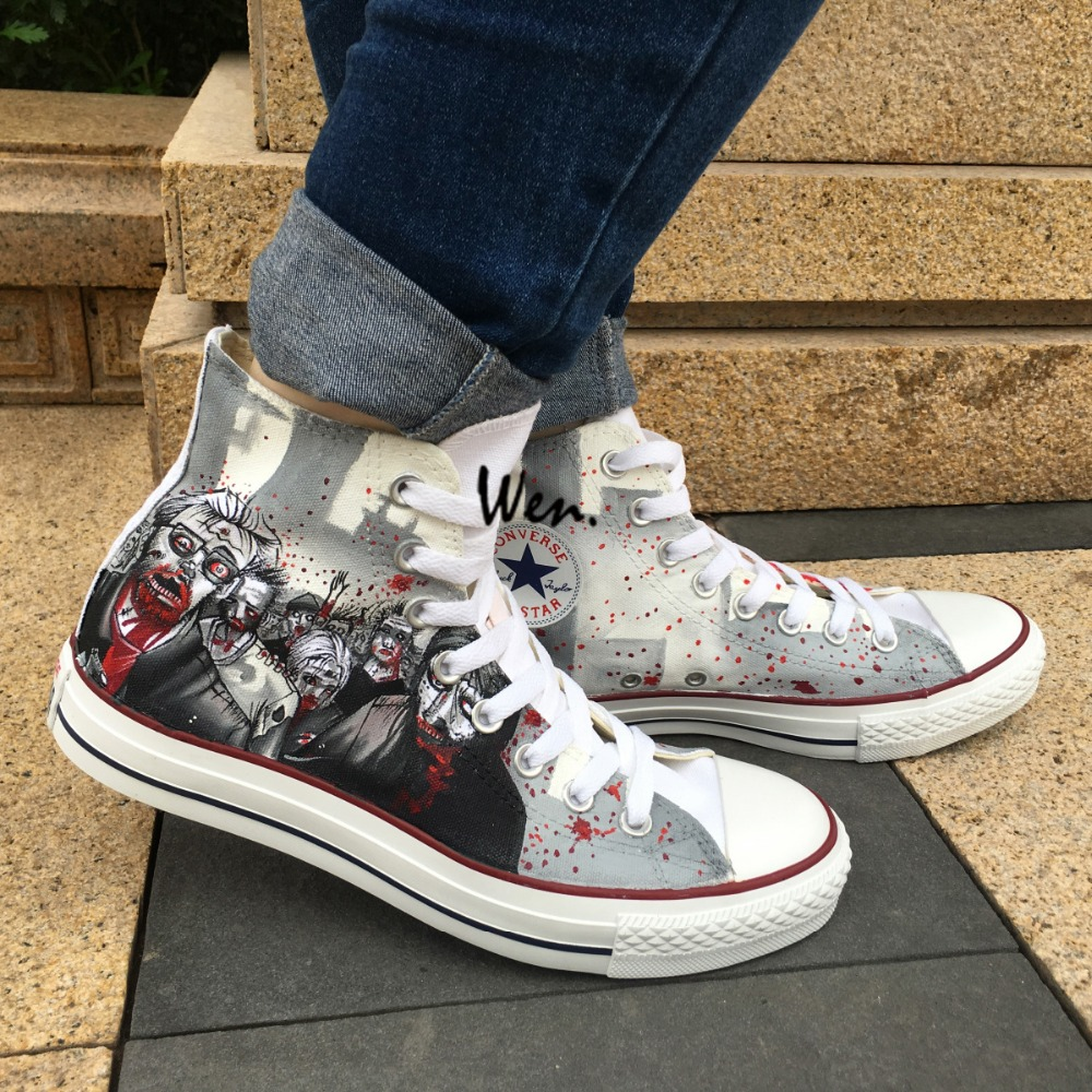 Walking dead converse shoes for sale - Aliexpress Com Buy Cool Women Men S Converse Chuck Taylor Hand Painted Shoes Man Woman The Walking Dead Custom Design Grey High Top Sneakers From Reliable