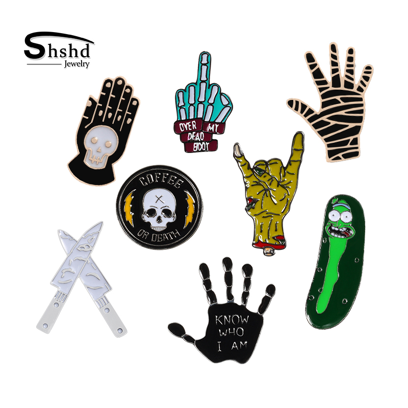 Creative Cartoon Brooch Punk HipHop Gesture Skeleton Hand Enamel Pins Fashion Badges Gothic Lapel Pin Collar Button Jewelry Gift