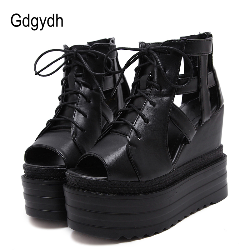 Gdgydh Peep Toe High Heel Women Sandals Wedges Fashion Zipper Black Ladies Summer Wedges Shoes Cover Heels Platform Women Shoes elegant slip on wedges shoes women casual chunky heel summer red blue peep toe suede 2018 high heels mules platform sandals
