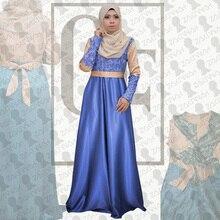 New arrival muslim kaftan muslim dress abaya muslim hijab dress lace abaya elegance islamic clothing maxi dress noble satin