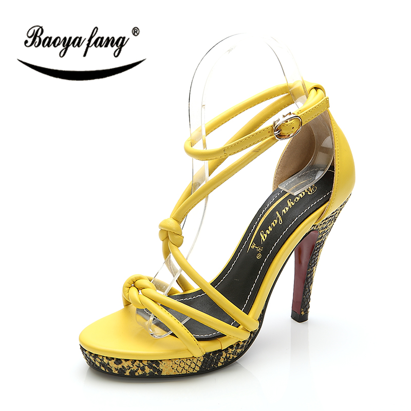 BaoYaFang New Yellow Woman Summer sandals Red Sole fashion shoes women High heels Platform shoes serpentine  High shoes 2016 spring and summer free shipping red new fashion design shoes african women print rt 3