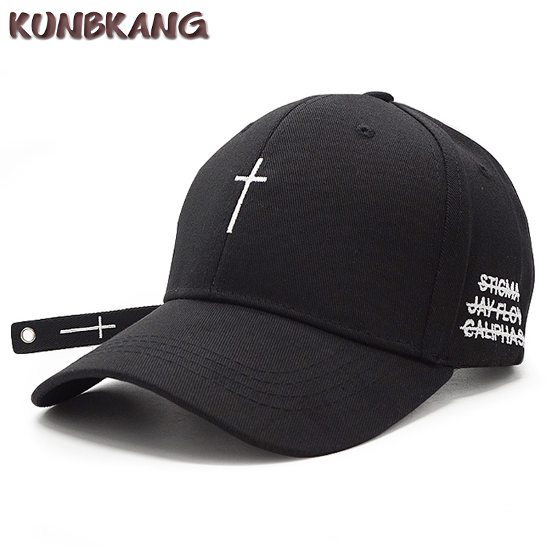 New Fashion Women Men Cross Belt Baseball Cap Black Embroidery Letter Snapback Hat Casquette Casual Cotton Cross Peaked Cap Bone