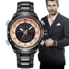 De luxe marque naviforce hommes étanche en acier plein montres hommes de quartz led militaire horloge homme sport montre-bracelet relogio masculino