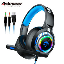 ASKMEER A60 PS4 Headset casque PC Stereo Bass Gaming Headphones Game Earphones with Microphone RGB LED Lights for New Xbox One