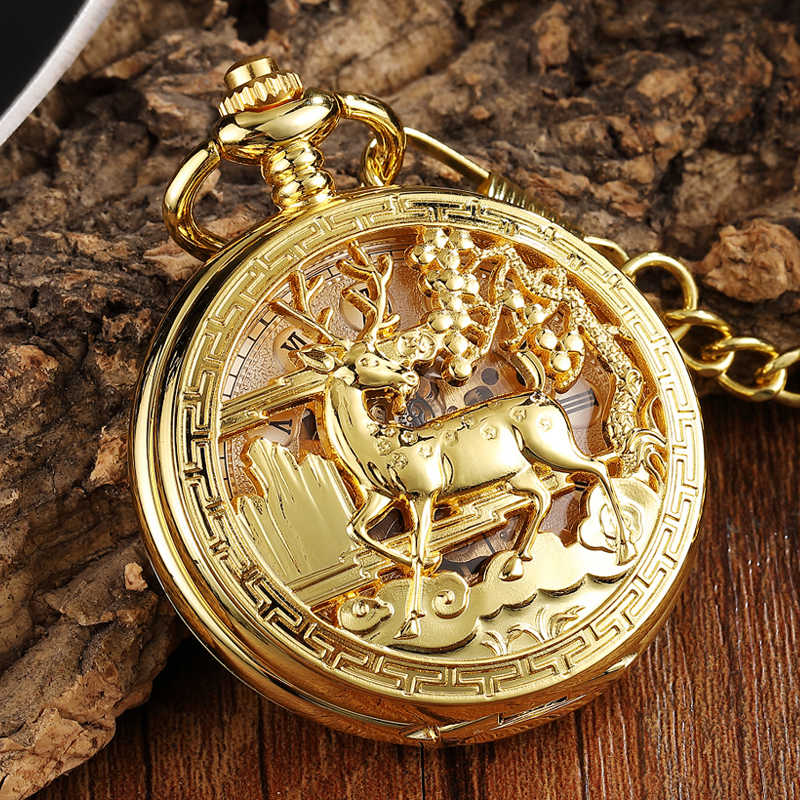 Luxury Deer Mechanical Pocket Watch Golden Sliver Bronze Goat Hollow Fob Chain Box Package Men and Women Lady Watches for Gifts