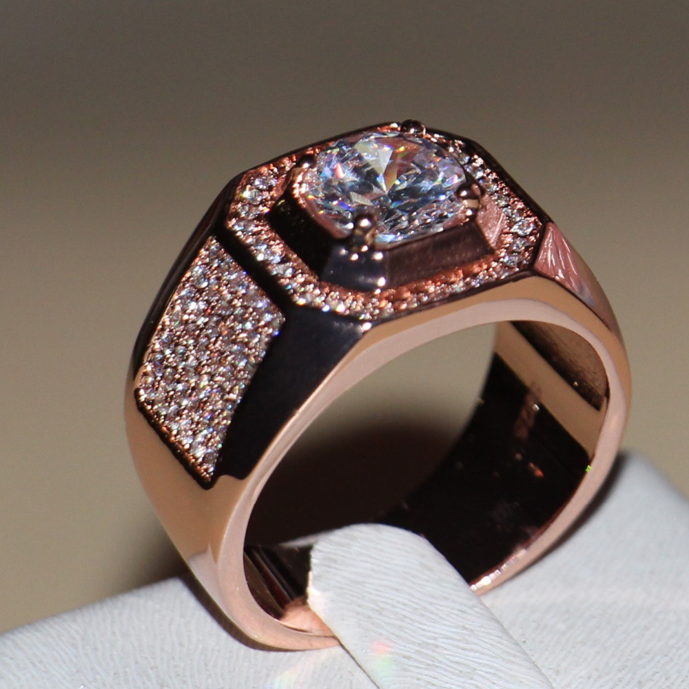 Size 7 13 New Fashion jewelry Handmade Men 3ct Round Cut 5A CZ Rose Gold 925 Sterling Silver