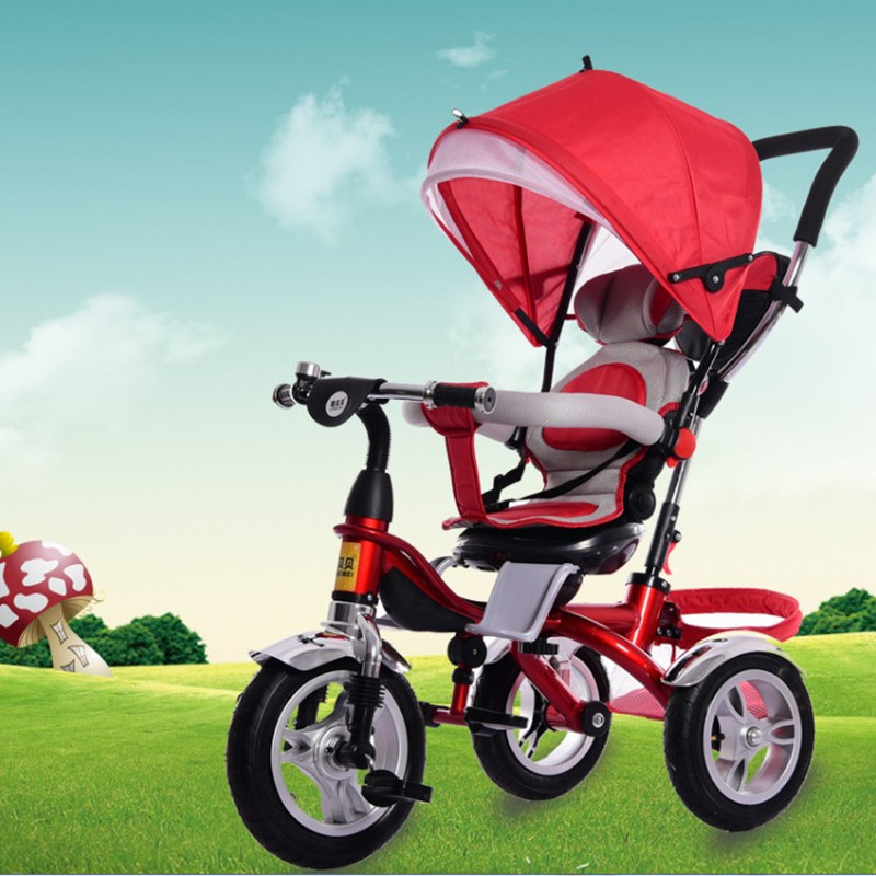 Umbrella Baby Stroller Bicycle Baby Carriage with 3 Wheels Child Tricycle Bicycle Bike with Shopping Cart Adjustable Lying Chair new child tricycle 3 wheels baby stroller bike ride on cars kids bicycle prams and pushchairs baby stroller 3 in 1