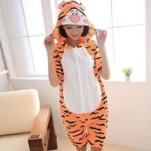 d67f9044bf Cute Tiger Adulto Manica Corta Pigiama Animale Estate Cosplay Unisex Pigiama  di Cotone Del Fumetto Onesies donne degli uomini Pi.