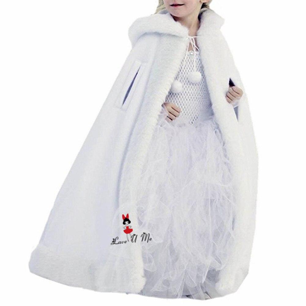 Blanc ivoire rouge fausse fourrure châle enveloppes Cape enfants Communion mariage étole fleur filles chaud hiver Junior demoiselle d'honneur veste