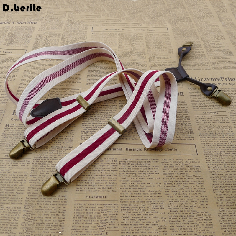 Men's Unisex Casual Striped Style Adjustable Clip-on Suspenders Clip Braces Adult Belt Strap For Wedding Party BDXJ2502