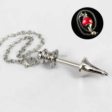 Blank Screw Pendulum Pendant with Link Chain DIY Findings for Healing Dowsing Reiki Glass Stone Locket Pendulum Pendant Making(China)