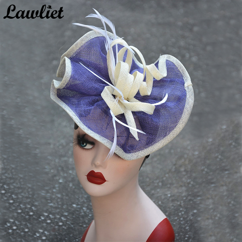 Sinamay Fascinator Hats Women Feather Royal Wedding Tea Party Kentucky Derby Fancy Hats Women Headbands Ladies Hair Accessory free shipping high quality 2015 mini disc flower sinamay fascinator with feather for race
