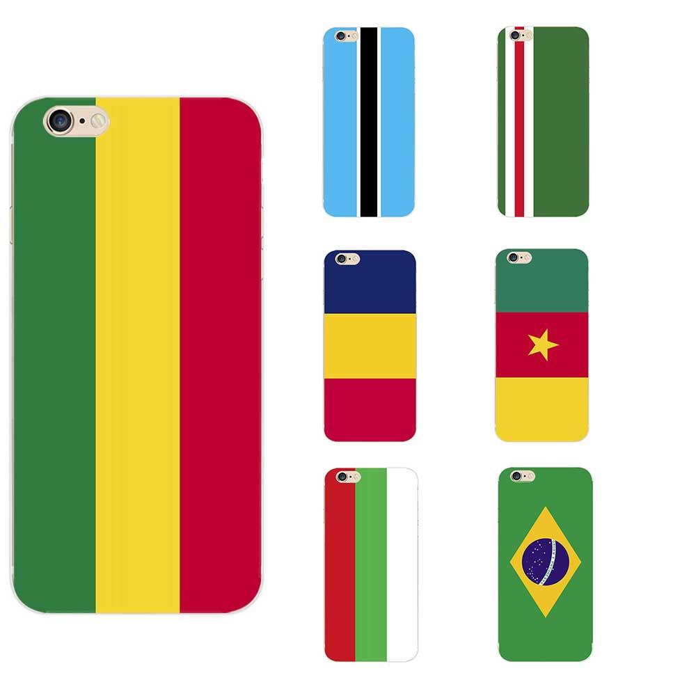 Боливия Ботсвана Бразилия Камерун Чад Чеченская Республика Ичкерия Национальный Флаг Тема TPU телефон чехол для iPhone 6/8/7/X