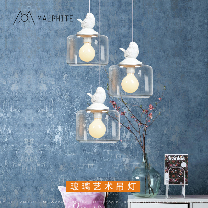 Modern LED E27 Pendant Lights Bird Glass Pendant Lamp Children Room Hanging Lamp Home Lighting Luminaire Kitchen Light Fixtures e27 pendant light hanging lamp iron bird cage modern light for home garden coffee room decoration
