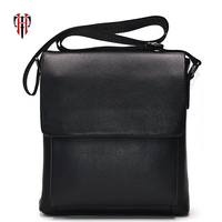 TIANHOO messenger bag men genuine leather bags Litchi pattern crossbody & flap shoulder bag book/PAD pockets for high school