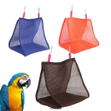Pet Parrot Hanging Cage Hut Tent Triangle Mesh Bird Hammock Nest Bed House Toy