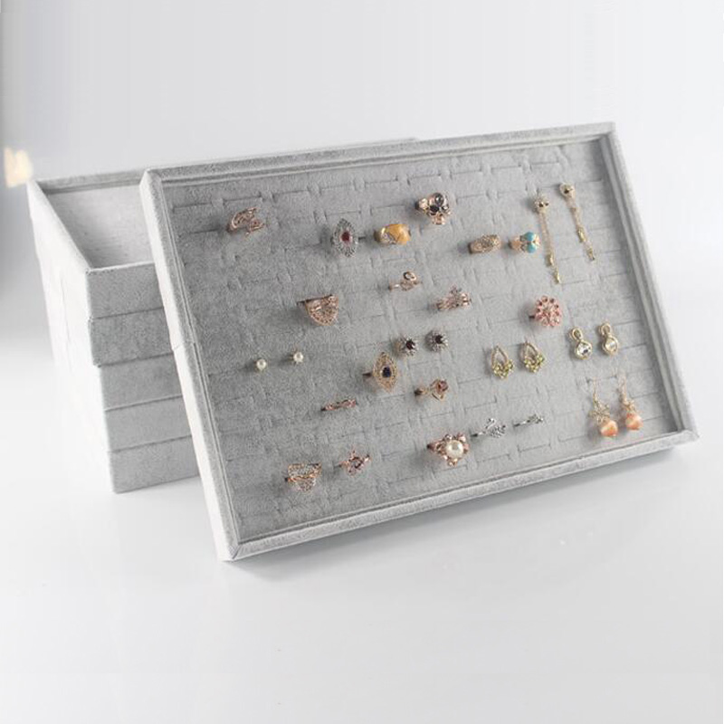 Classic Velvet Jewelry Trays Jewelry Storage Organizer Jewelry Display Holder Bracelets Rings Earring Jade Pendan Box Case