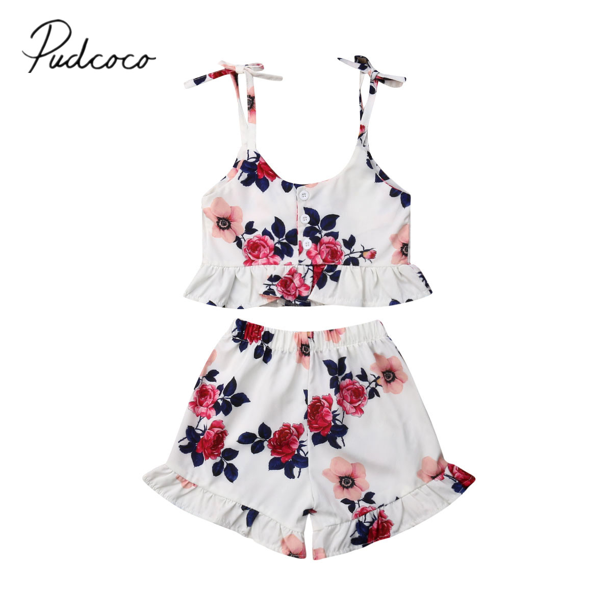 3a899c7f1f 2019 Baby Summer Clothing 0-3Y Kid Baby Girl Clothes Sets Sleeveless  Ruffles Crop Tops
