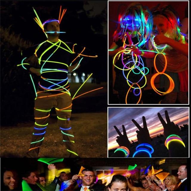 Curable 2017 Glow Stick 100 Pcs Sticks Bracelets Necklaces Fluorescent Neon Party Hot Gift C